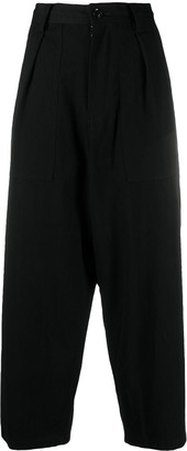 Y's Pleat Detail Wide-Legged Trousers