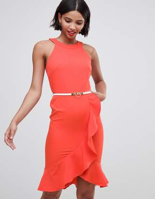 Paper Dolls drill detail sleeveless dress with belt-Red