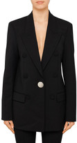 Alexander Wang SINGLE BREASTED PEAKED LAPEL JACKET W/ LEATHER SLV