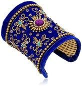 """Chamak by Priya Kakkar Blue Velvet Beaded Cuff Bracelet, 2.5"""""""