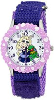 Disney Kids' The Muppets Piggy and Kermit Stainless Steel Watch, W001622, Purple Nylon Strap, Analog Display, Purple Watch