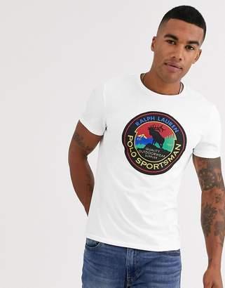 Polo Ralph Lauren sportsman circle logo t-shirt in white