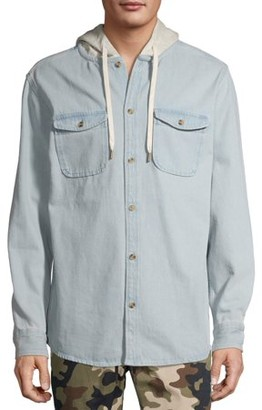 No Boundaries Men's Fleece Hooded Shirt Jacket, Up to Size 5XL