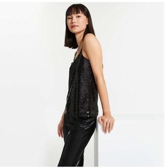 Joe Fresh Women's Sequin Cami, Dark Grey (Size S)