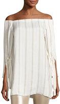 Halston Striped Tie-Sleeve Off-the-Shoulder Top, Tan