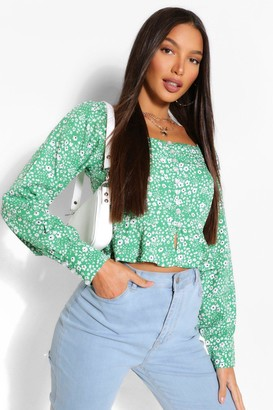 boohoo Tall Woven Floral Button Front Top