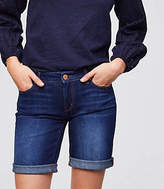 LOFT Curvy Denim Bermuda Shorts in Rich Dark Indigo Wash