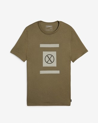 Express Olive Two Bar Logo Graphic T-Shirt