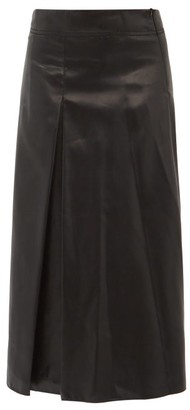 Sara Lanzi Box Pleated Charmeuse A Line Skirt - Womens - Black