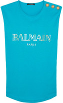 Balmain Button-embellished Printed Cotton-jersey Top - Turquoise