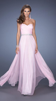 La Femme Strapless Evening Long Gown with Jeweled Waist 19796