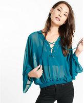 Express chiffon lace-up blouse