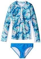 Seafolly Jungle Geo Long Sleeve Surf Set Girl's Swimwear Sets