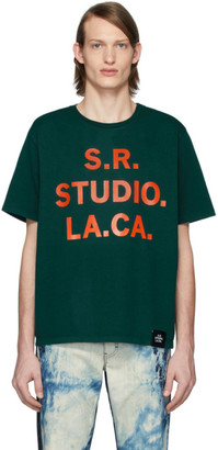 S.R. STUDIO. LA. CA. Green S.R.S. Logo and Vampire Sunrise Basic T-Shirt