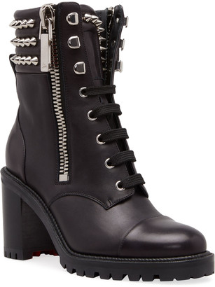 Christian Louboutin Winter Spiked Leather Combat Booties