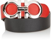 Salvatore Ferragamo Black/Red Reversible Big SILVER Buckle Belt