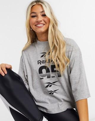 Reebok Training oversized crop t-shirt in gray