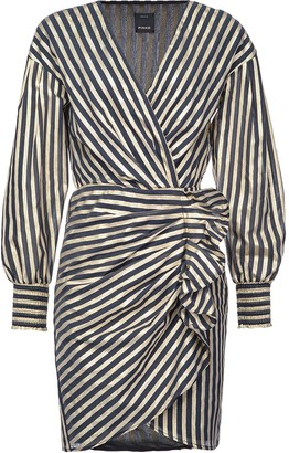 Pinko Ruffle-Detail Striped Dress