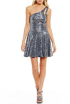 B. Darlin One-Shoulder Sequin Sheath Dress