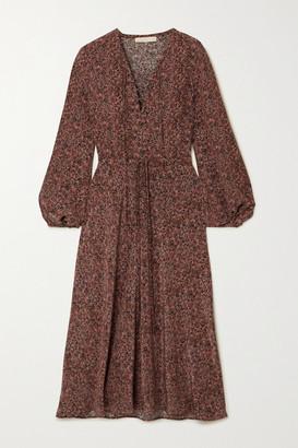 Vanessa Bruno Nathea Lace-up Floral-print Silk Crepe De Chine Midi Dress - Red