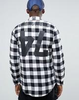 Criminal Damage Longline Check Shirt With Back Print
