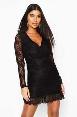 boohoo Petite Lace Plunge Ruffle Hem Mini Dress