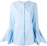 Sara Battaglia draped longsleeves buttoned blouse