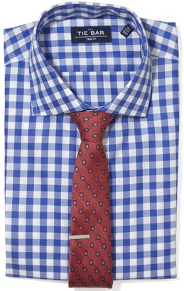 The Tie Bar Classic Blue Large Gingham Textured Non-Iron Shirt