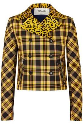 Diane von Furstenberg Leopard-print Calf Hair And Checked Twill Jacket