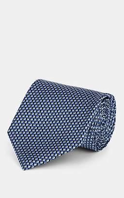 Brioni Men's Geometric-Print Silk Satin Necktie - Blue