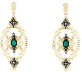 Armenta Old World Diamond, Malachite & Topaz Open-Scroll Mesh Earrings