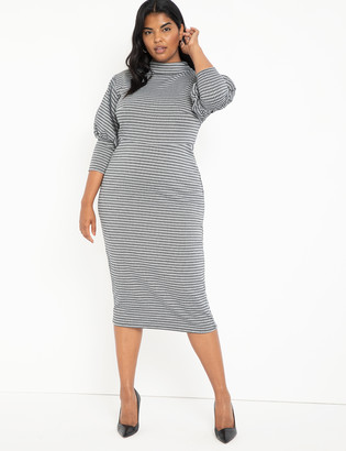 ELOQUII Houndstooth Puff Sleeve Dress