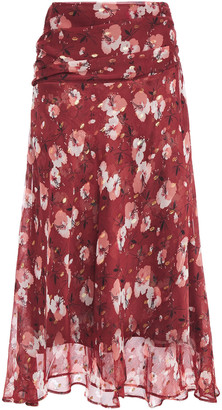 Walter Baker Ruched Floral-print Chiffon Midi Skirt
