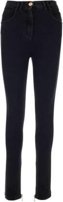 Balmain High Waist Zipped Cuff Skinny Jeans