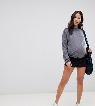 Asos DESIGN Maternity chino shorts in navy with under the bump waistband-Blue