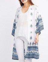 Charlotte Russe Border Print Duster Kimono