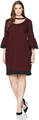 Julian Taylor Women's Plus Size Full Figured Printed 3/4 Bell Sleeve Gigi Neckline Dress