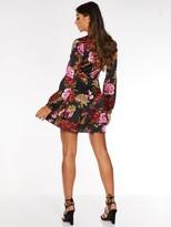 Quiz Satin Floral Wrap Front Balloon Sleeve Frill Skirt Dress