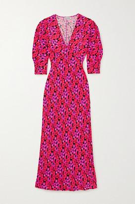 Rixo Zadie Floral-print Crepe De Chine Midi Dress - Pink