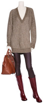 Malo Brown Heather Chunky Knit V-Neck Pullover