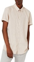 Topman Men's Crosshatch Cotton & Linen Shirt