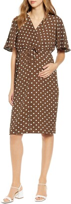 Angel Maternity Bella Polka Dot Empire Waist Maternity/Nursing Dress
