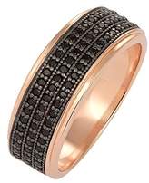 Elli Women's 925 Sterling Silver Brilliant Cut Black Cubic Zirconia Rose Gold Stacking Ring, Size 58 mm