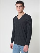 American Apparel Unisex Long Sleeve Tri-Blend V-Neck T-Shirt (M) (Tri-Black)