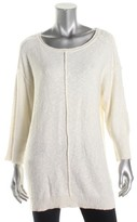 Vince Camuto Two by Womens Crewneck Exposed Seam Crewneck Sweater