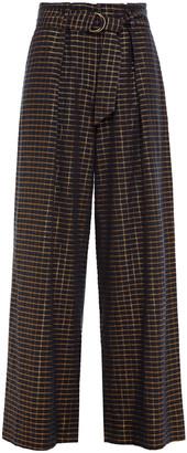 Ulla Johnson Belted Metallic Checked Cotton And Lurex-blend Jacquard Wide-leg Pants