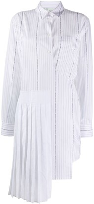 Off-White Wrap-Front Striped Shirt Dress