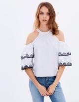 Miss Selfridge Circle Embroidered Cold Shoulder Top