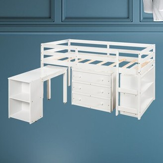 Harriet Bee Medzarents Twin Low Loft Bed with Desk, Bookcase, and 3 Drawers Bed Frame Color: White