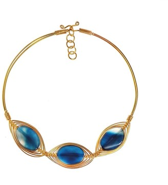 Aeravida Handmade Peacock Blue Nova Agate Stone Brass Collar Choker Necklace